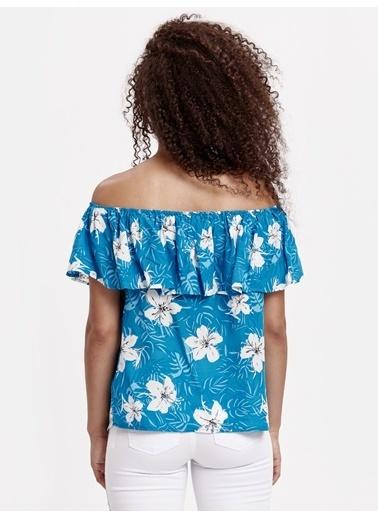 LC Waikiki Çizgili Kayık Yaka Bluz Mavi